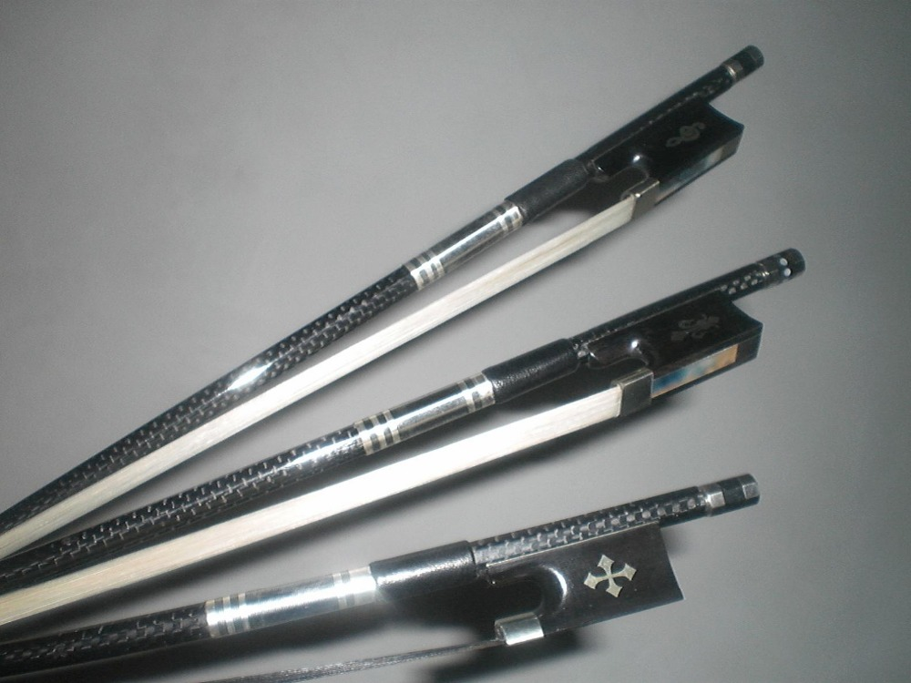 3 PCs Strong Carbon Fiber Violin bow with gribs with Different Ebony frog 4 4