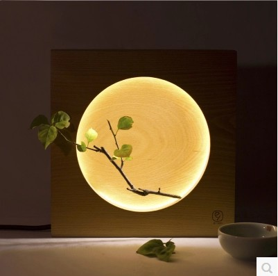 Elegant Style Wooden Table Lamp Creative Home Decoration Bedside Reading Lamp Night Light Moon Shape 250*250*50mm creative home decoration victory gesture shape led night light