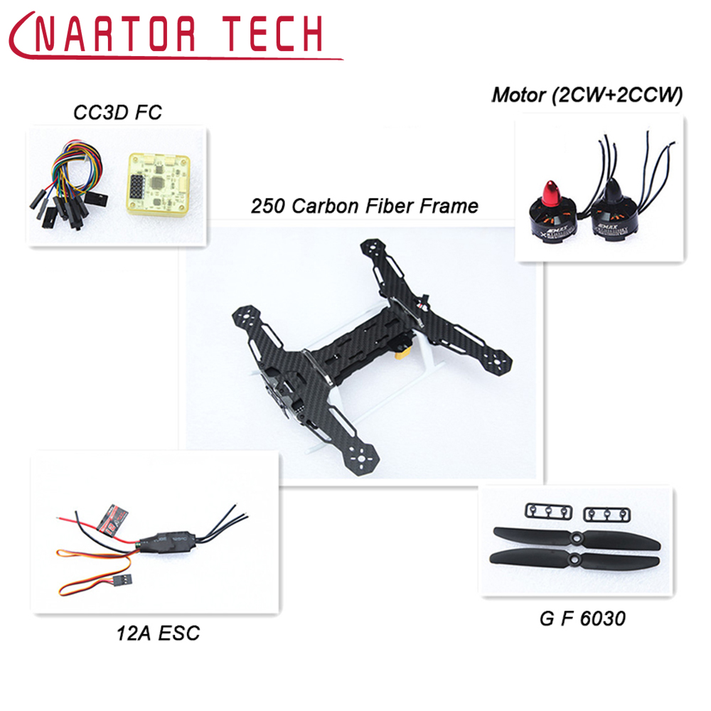 Carbon Fiber 12A QAV250 Quadcopter Frame & 2204 Motor & Emax BLHeli 12A ESC & CC3D EVO Flight Controller 6030 Prop for QAV250 carbon fiber diy mini drone 220mm quadcopter frame for qav r 220 f3 flight controller lhi dx2205 2300kv motor
