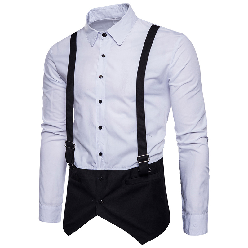 Tops Men's Personality casual Straps Shirt clothes men Fake two pieces cotton dress pantchwork color long-sleeved shirt S-XXL
