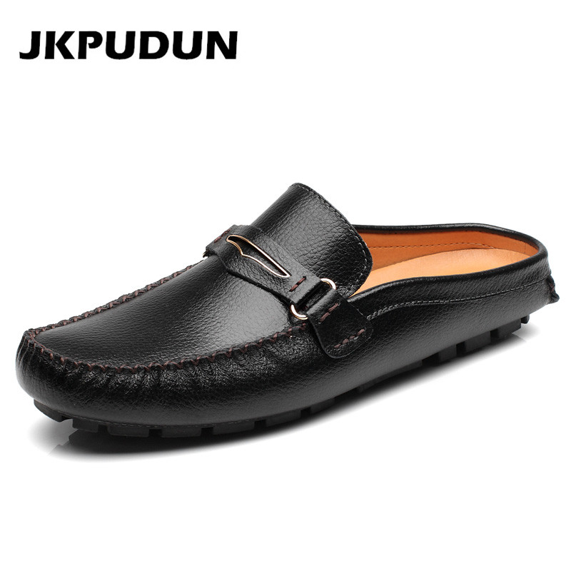 65c76c2b9cb6 JKPUDUN Mens Designer Black Shoes Luxury Brand 2019 High Quality Genuine  Leather Flats Half Slipper Loafer Casual Summer Sandals