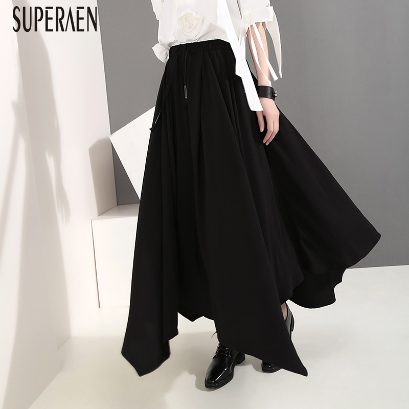 SuperAen High Waist Casual Long   Pants   Women Irregular Summer New 2019 Ladies   Wide     Leg     Pants   Elastic Waist Fashion Ladies   Pants