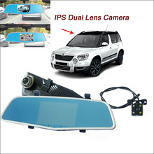 BigBigRoad For skoda yeti octavia a5 fabia Car Rearview Mirror DVR Video Recorder Dual lens 5 inch IPS Screen dash camera