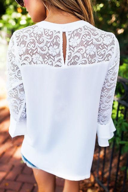White Lace Women T Shirt Tops 2