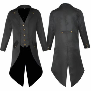 Men's Retro Tailcoat Suit Jacket Gothic Steampunk Long Jacket Victorian Frock Coat Cosplay Male Single Breasted Swallow Uniform