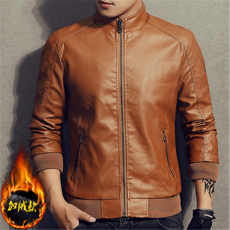 Stand Collar 4 Color warm Velvet Men Solid Slim Leather jacket Faux Fur Coats Trend Slim Fit Youth Motorcycle Suede Jacket