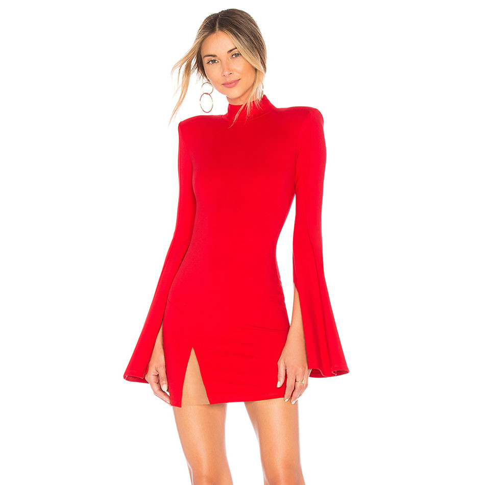 New Autumn Bandage Dress Sexy Club Fashion Hollow Out Celebrity Evening Party Women Dresses Long Sleeve
