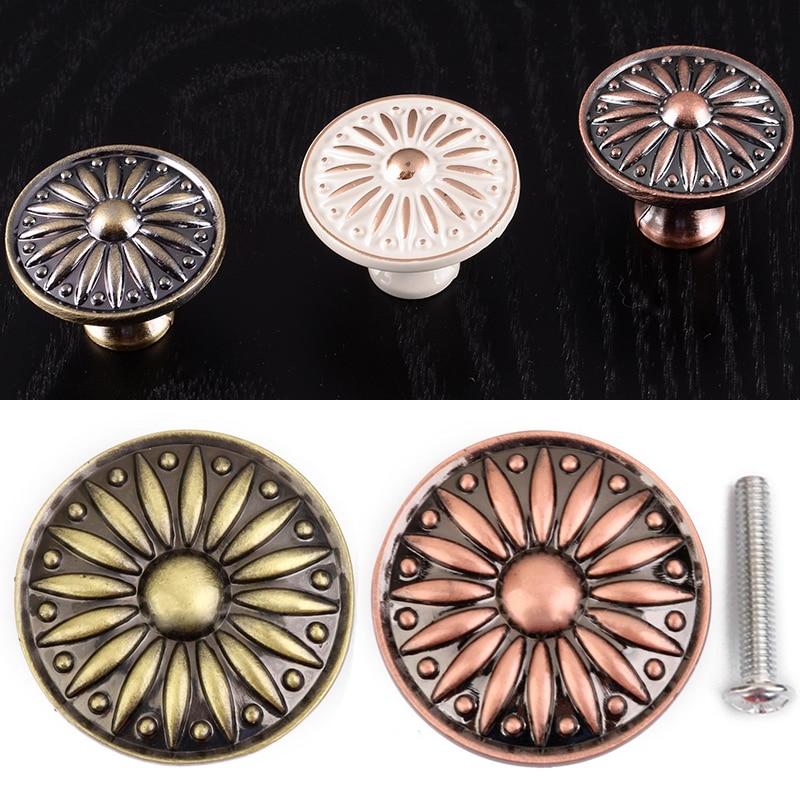 mayitr Vintage Metal Round Drawer Knob Door Cupboard Pull Handle Knob Dresser Door Cabinet Knob+1 x Mounting Screw 3 colors