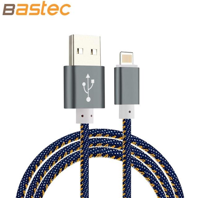 Bastec Super Strong Denim Metal Plug Micro USB Cable for iPhone 6 6s Plus 5s 5 iPadmini / Samsung / Xiaomi