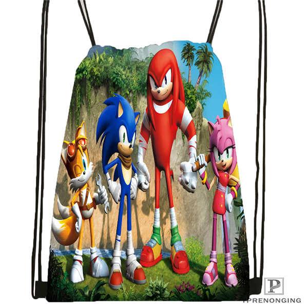 Custom sonic and friends Drawstring Backpack Bag Cute Daypack Kids Satchel Black Back 31x40cm 2018612 01
