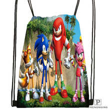 Custom sonic-and-friends Drawstring Backpack Bag Cute Daypack Kids Satchel (Black Back) 31x40cm#2018612-01-2