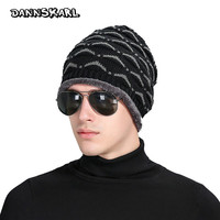 New Autumn Winter Fashion Men Hat Eyelid Pattern Label Knitted Wool Man Caps Keep Warm Increase