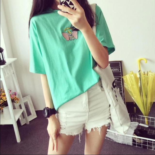 T-shirt de Algodão de verão Mulheres de Manga Curta Estilo Moda Coreano Solto Bordado Elefante Camisas O-neck Manga Curta Tops Casuais