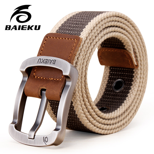 BAIEKU brand Military Outdoor Tactical Men's High Quality Belts For Jeans Canvas Straps 6 Colors large size  on AliExpress
