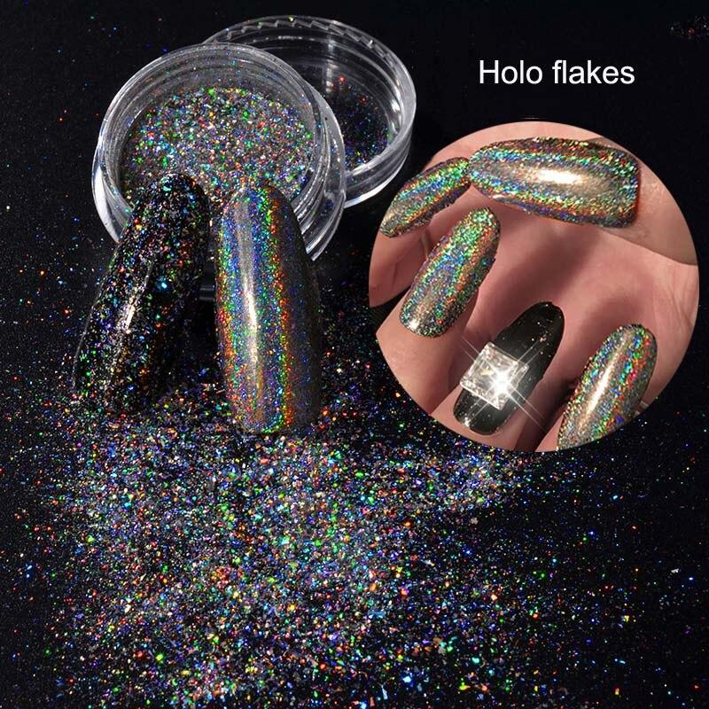 Beste Preis Nagel Glitters Galaxy Holo Flakes 0,2 Gr/schachtel Laser Bling Regenbogen Flecken Chrom Magische Wirkung Unregelmäßigen Nail Art Pulver