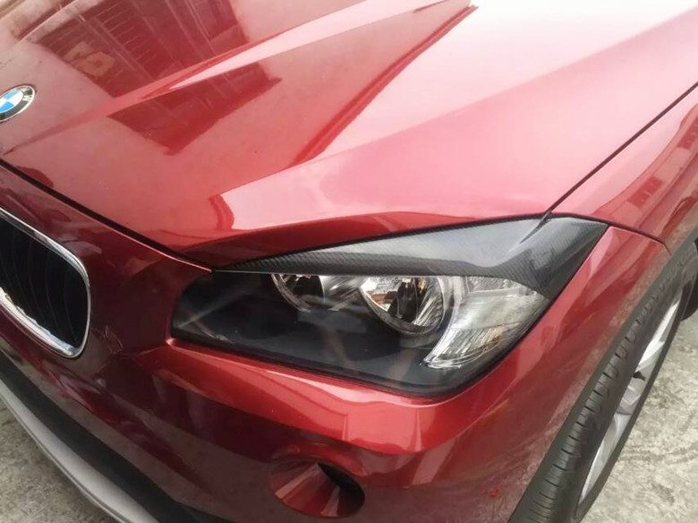 E84 X1 Carbon Fiber Car Headlight Eyebrows Cover Trim Sticker for BMW 2009 2015