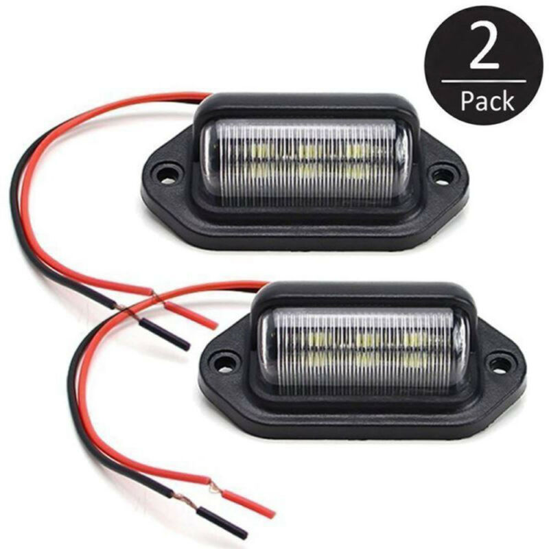 For Car 2pcs Lamp License plate lights Truck Trailer Waterproof IP65 6 LED Bulb 66*33*25MM 10-30V Replacement Auto Accessories image