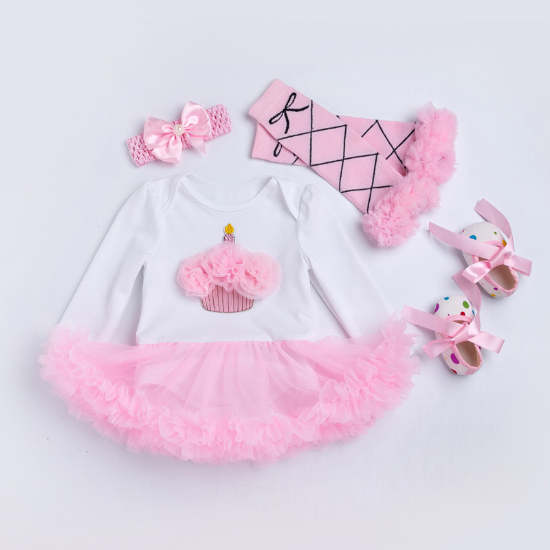 Vestidos Girls Romper Dress Pink Cupcake 1st Birthday Gift Infantil BEBE Pettiskirt Party Clothing for Kids Clothes Baby Dress