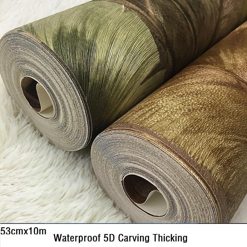Nouveau style sud-est asiatique feuille de banane papier peint 5d stéréo étanche PVC profond gaufrage fond papier peint paquet mail