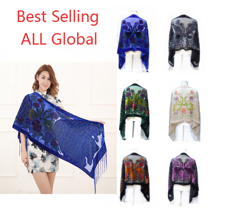 Image 2 - 12 Colors UK Peacock Velvet Shawl Women Scarf Fashion Winter Pashmina Poncho US Gift For Lady free shipping-in Women's Scarves from Apparel Accessories on AliExpress