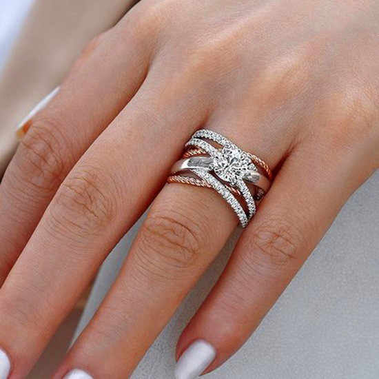 Luxury Female Big Crystal Round Stone Ring 925 Silver AAA Zircon Engagement Ring Vintage Party Wedding Rings For Women