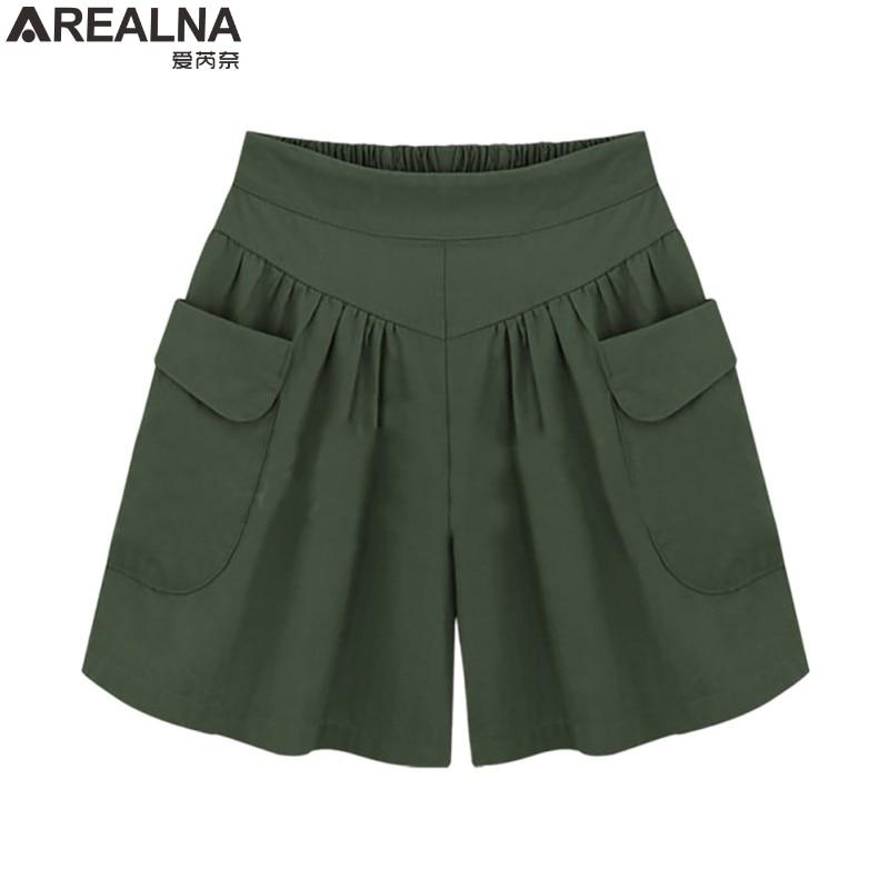 AREALNA high waist Chiffon   shorts   women 2018 Summer loose Wide Leg   short   feminino Casual pantalones cortos mujer Plus size 5XL