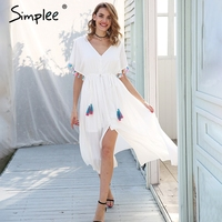 Simplee Backless v neck summer dress women Lace up tassel maxi dress casual 2018 Spring streetwear white long dress female