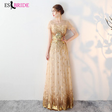 Gold Printing Gorgeous Dress Robe De Soiree Short Sleeve Lace Appliques Long Evening Special Occasion Party Gown ES1399
