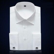 Мужская немнущаяся приталенная рубашка, Классическая рубашка с французскими манжетами, длинными рукавами и скрытой планкой, элегантные рубашки под смокинг, запонки в комплекте