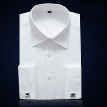 High Quality Men Non Iron Slim Fit French Cuff Dress Shirt Long Sleeve Covered Placket Elegant Tuxedo Shirts(Cufflinks Included)