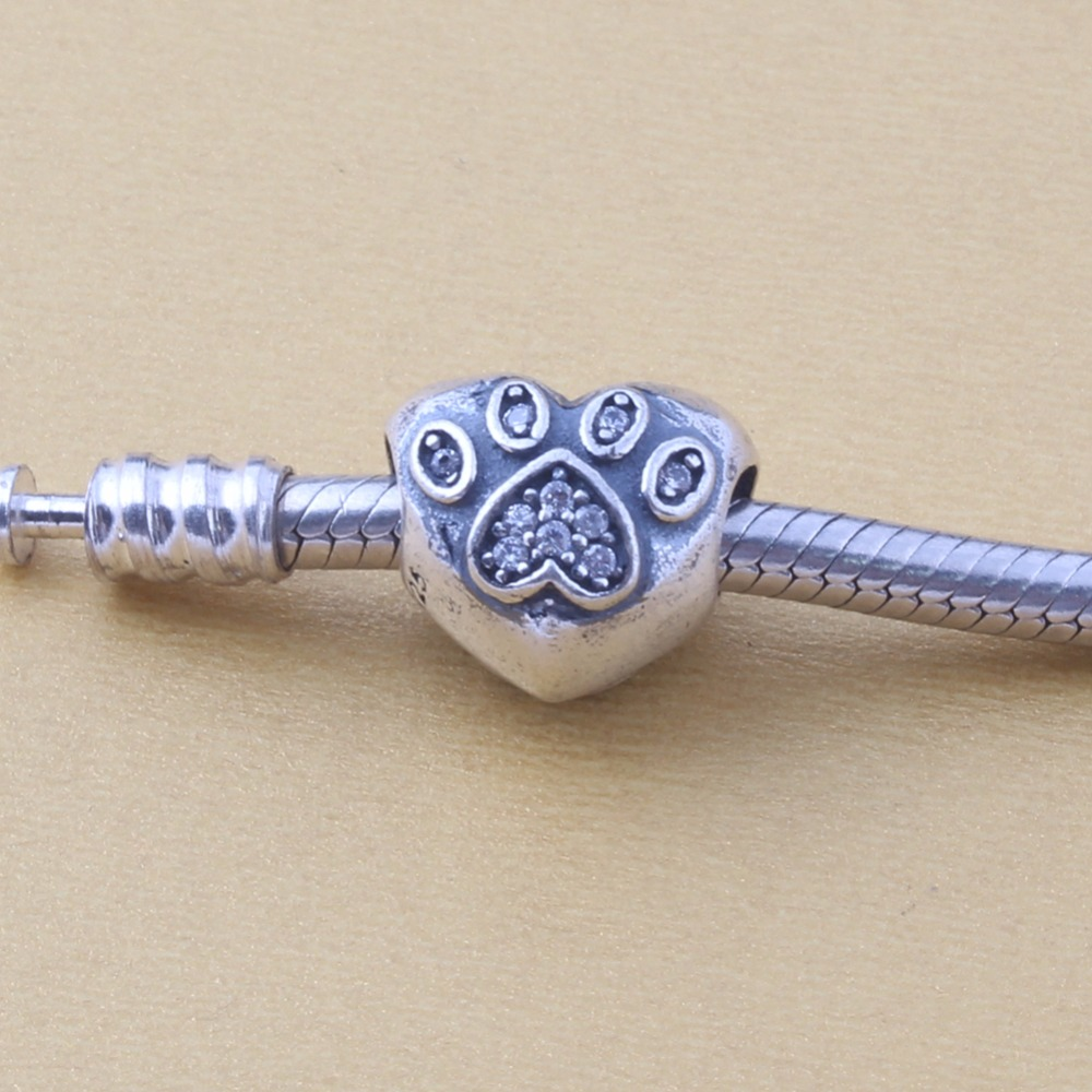 ZMZY 100% 925 Original Sterling Silver Charms Vintage Heart Paw Beads Fit Pandora Charm Bracelet