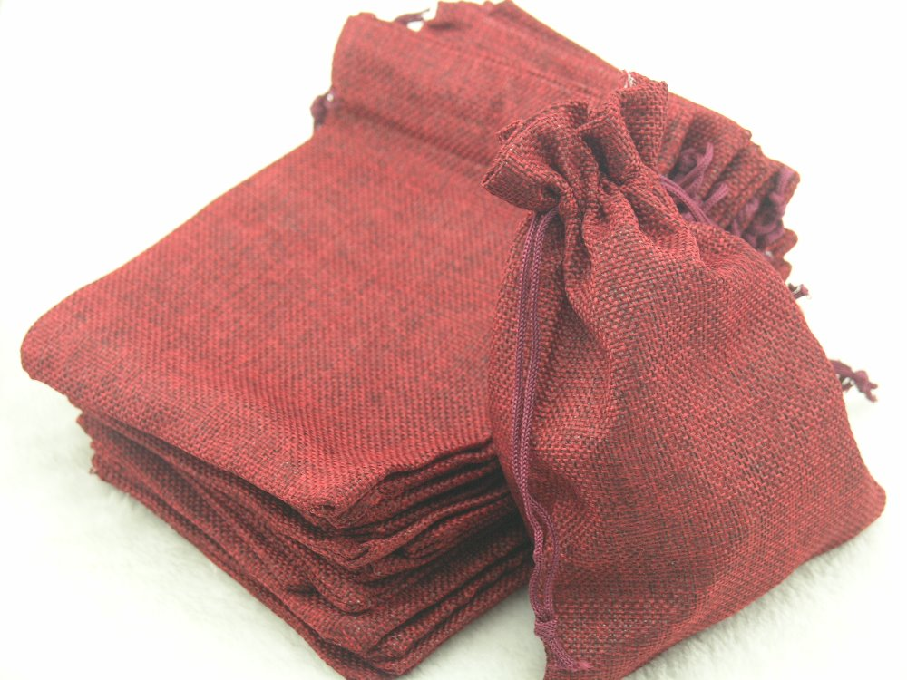 100pcs 9.3x13.5cm Burgendy Hemp/Hessian Bags, Jewelry Pouches, Wedding Favors, Jewelry Packing, Gift Bags--HB091310