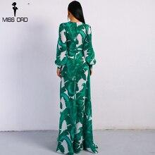 Missord 2019 Summer Deep V Two Split Print Beach Dress Kafftan Long Sleeve Ruffle Seaside Maxi Dress FT9106