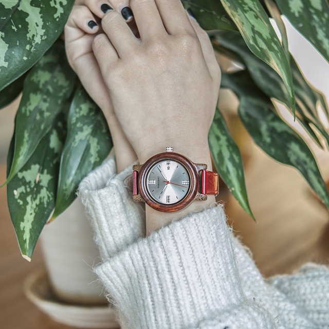 Reloj madera para mujer pulso cuero colores