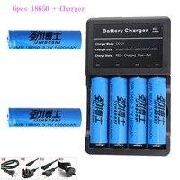 6PCS NCR18650B 3.7v 1600mah 18650 Lithium Rechargeable Battery For Panasonic Flashlight batteries+Multi four Charger