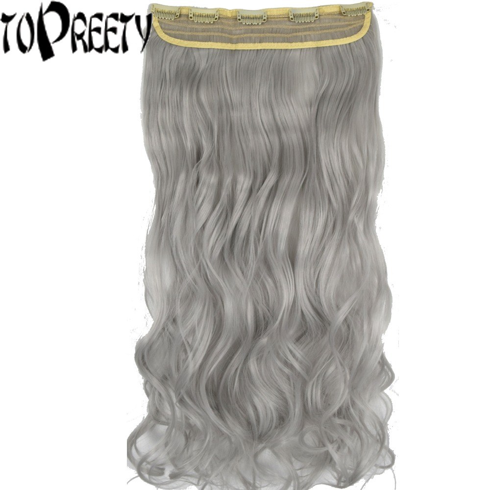 TOPREETY Heat Resistant B5 Synthetic Hair 26 65cm 130gr Wavy 5 clips on clip in Hair Extensions