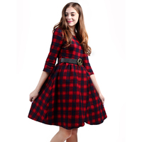 R H New Autumn Plaid Dresses 2017 Explosions Leisure Vintage Dress Fall Women Check Print Spring