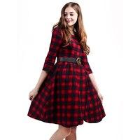 R & H novo Xadrez Outono Vestidos 2017 Explosões de Lazer Queda Vestido Vintage Mulheres Primavera Casual Vestido cinto de Verificação de Impressão Midi Vestidos
