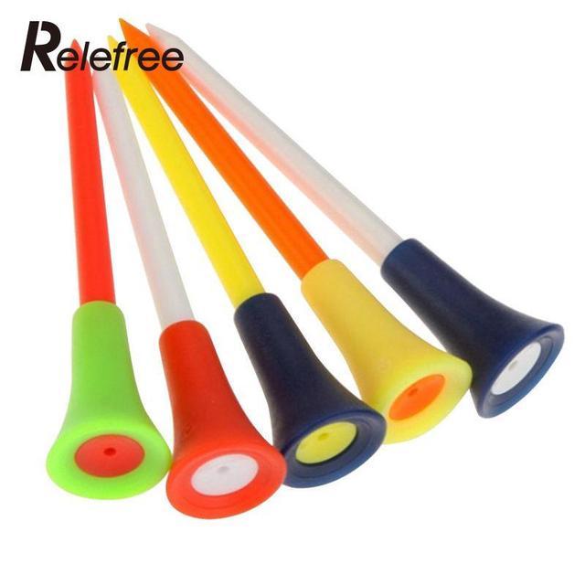 Relefree 50 Pcs Golf Tools Multicolor Plastic Golf Tees Golf Rubber Cushion Top Golf Equipment