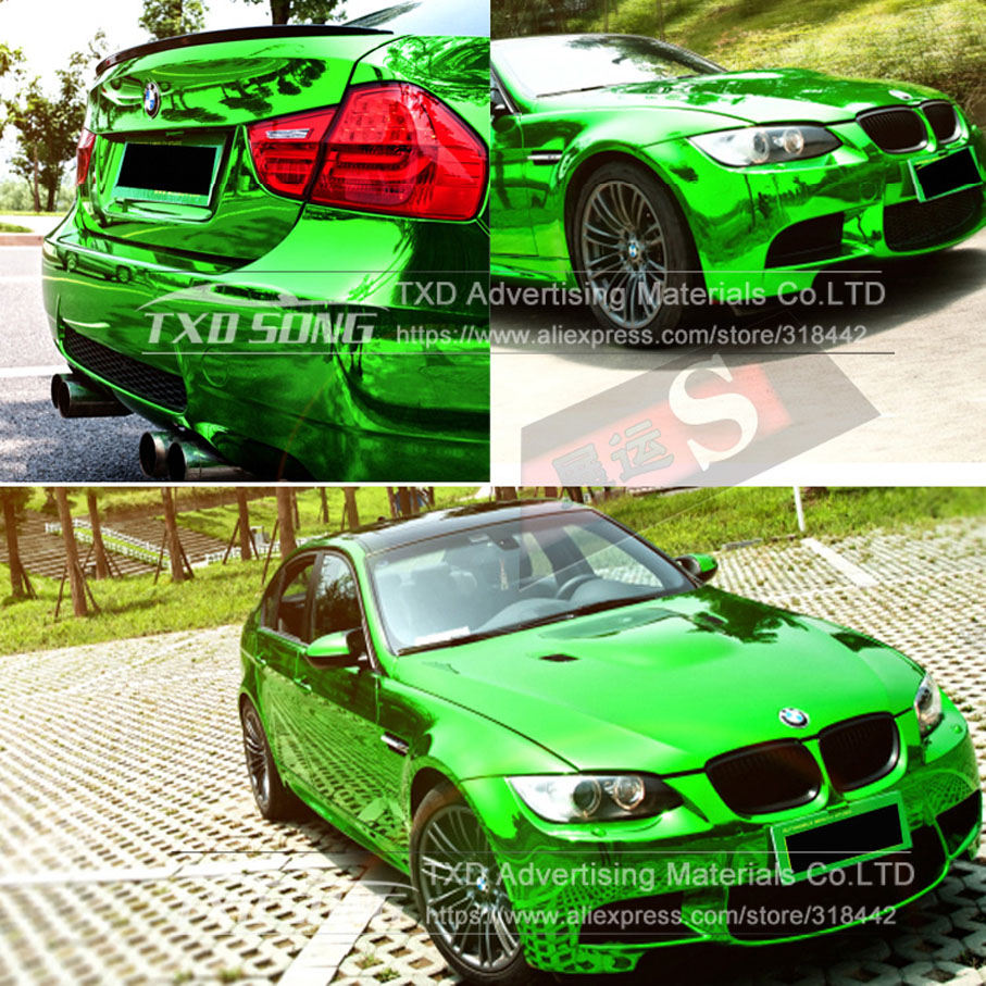 Image 5 - 50CM*100/200/300/400/500CM New Size High stretchable green silver Chrome Mirror flexible Vinyl Wrap Sheet Roll Film Car Vinyl-in Car Stickers from Automobiles & Motorcycles