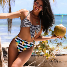 FOLOK Pineapple Print Sexy Bikini set Spaghetti Strap Halter Tankini Push Up Swimsuit For Women
