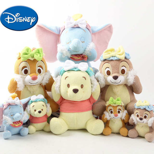 Disney Baby Plush Toys Winnie the Pooh Dumbo Black Nose Squirrel Red Nose  Squirrel Lovely Bath Series Plush Doll f8f255a08f13