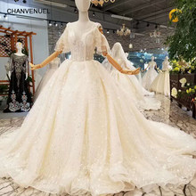 5634a9ee4cc69 LSS069 shiny champagne wedding dress o neck tulle short special sleeve sexy  v-back long train wedding gown plus size provided