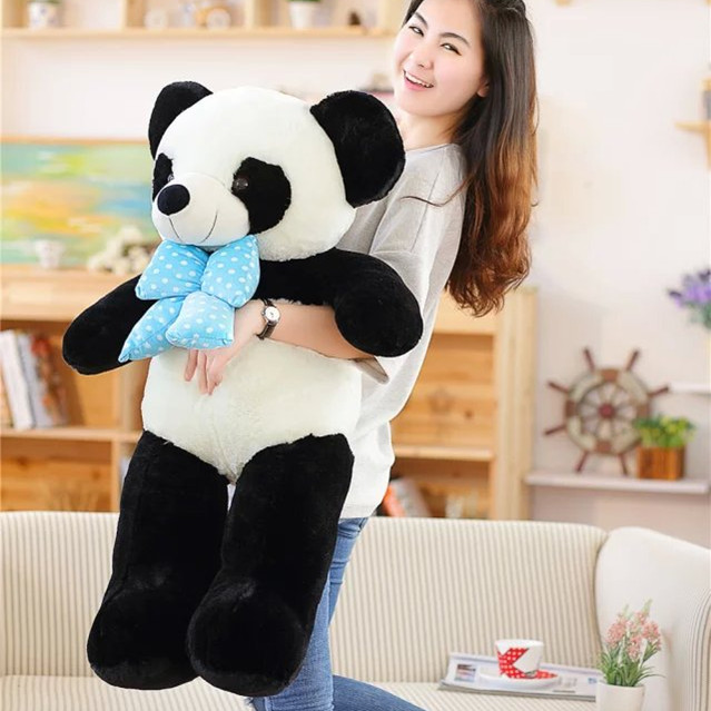 large 100cm panda doll plush toy bowtie panda doll soft throw pillow, birthday gift x066 filling toy so large 220 cm green crocodile plush toy soft throw pillow valentine s day birthday gift w5395