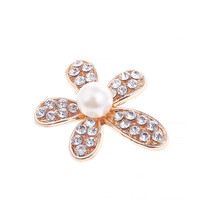 Wholesale 50PCs/Lot Gold Color Plated Rhinestone Crystal Flowers Craft Floral Alloy Button Patch Sticker Craft Fit Jewelry Decor