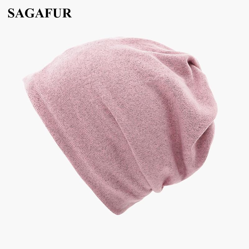 Baggy Beanies Bonnet-Cap Knitted-Hat Ponytail Spring-Autumn Female Women's Casual Plain
