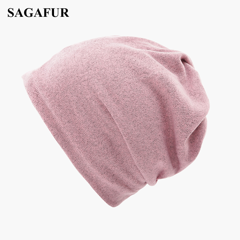 Multifunction Knitted Hat Women's Casual Plain Bonnet Cap Female Soft Polyester Baggy Beanies Spring Autumn Ponytail Beanies