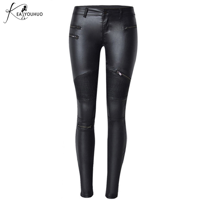 2018 Winter Faux Leather   Pants   Women High Waist Zippers   Capris     Pants   Plus Size Trousers Women Pencil   Pants   Black Pantalon Femme