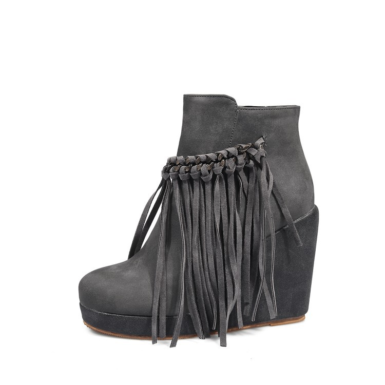 02d0b42f2c3 Large Size Fashion Fringe Autumn Winter Boots Flock Brown Gray Shoes Ankle  Wedge Boots Women s Shoes Elegant For Party Ladies