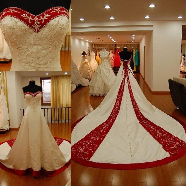 New Style Sweetheart Embriodery Satin A-Line Ivory and Red Wedding Dresses Bridal Gown Custom Size 4 6 8 10 12 14 16++ W796